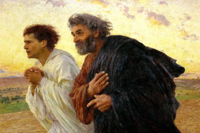 """The Disciples Peter and John Running to the Sepulchre on the Morning of the Resurrection"" (detail) by Eugene Burnand"