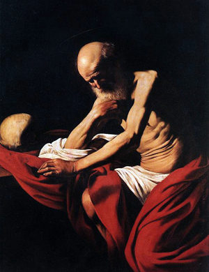 Jerome in Meditation by Caravaggio