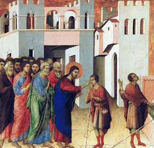 Jesus Opens the Eyes of a Man Born Blind - by Duccio
