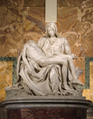 The Pietà (1499), a masterpiece of Renaissance sculpture by Michelangelo and displayed at St. Peter's Basilica in Vatican City, is an example of the Catholic Church's support for the arts.