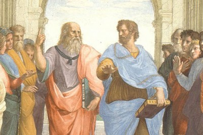 """The School of Athens"" (detail showing Aristotle with the elder Plato) by Raphael"