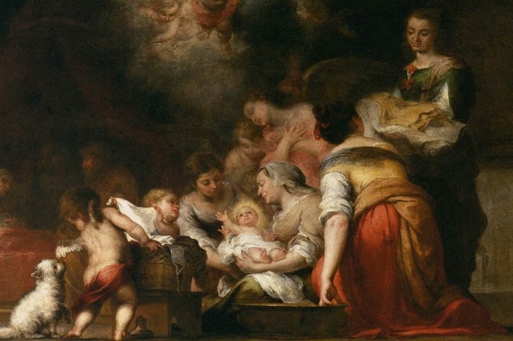 """The Birth of the Virgin"" (detail) by Murillo"