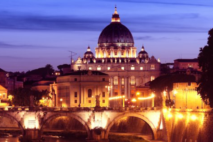 St. Peter's Basilica at Night (and Ponte Sant Angelo over the Tiber)