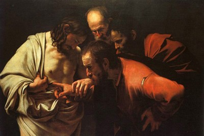 """The Incredulity of Saint Thomas"" (detail) by Caravaggio"