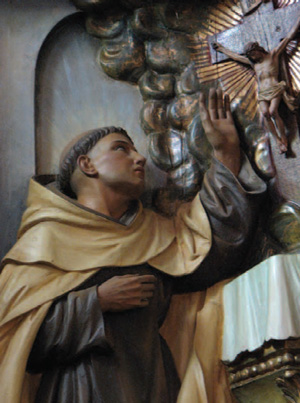 Wood carving of St. John of the Cross, Carmelite Sisters Motherhouse, Alhambra, CA; Photography © Carmelite Sisters