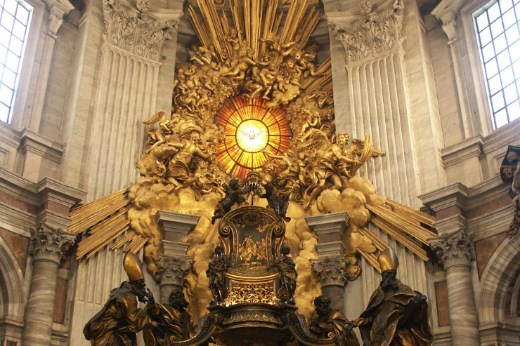 "Detail of Chair of St. Peter <a href=""https://commons.wikimedia.org/wiki/User:Dnalor_01"">Dnalor 01</a>, <a href=""https://commons.wikimedia.org/wiki/File:Rom,_Vatikan,_Petersdom,_Cathedra_Petri_(Bernini)_4.jpg"">Rom, Vatikan, Petersdom, Cathedra Petri (Bernini) 4</a>, Detail, <a href=""https://creativecommons.org/licenses/by-sa/3.0/legalcode"">CC BY-SA 3.0</a>"