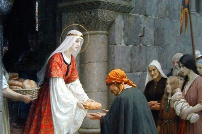 """Charity of St. Elizabeth of Hungary"" (detail) by Edmund Blair Leighton"