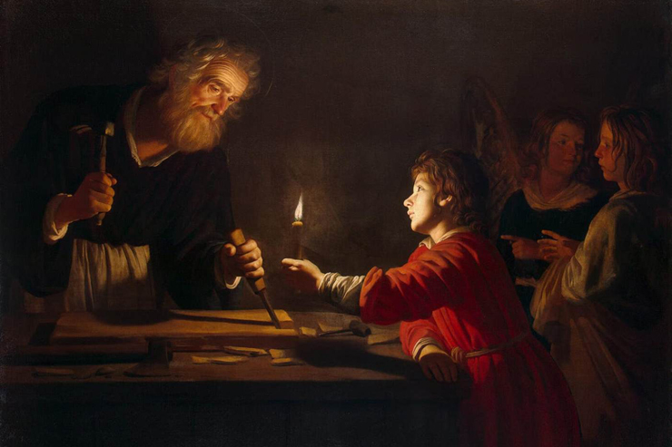 """Childhood of Christ"" (detail) by Gerrit van Honthorst"