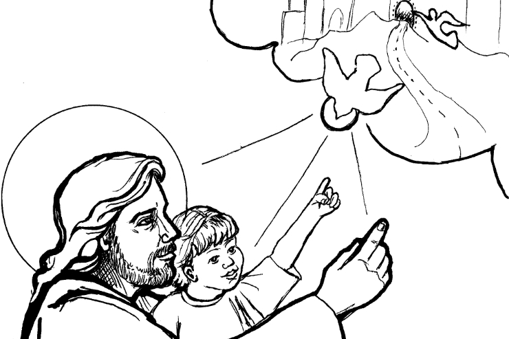 """""""Jesus Teaches the Child"""" (detail) by Judith Costello"""