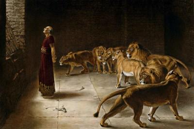 """Daniel's Answer to the King"" (detail) by Briton Rivière"