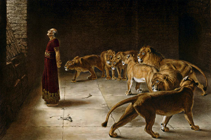 """Daniel's Answer to the King"" (detail) by Briton Rivière"