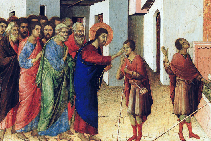 """Jesus Opens the Eyes of the Man Born Blind"" (detail) by Duccio"