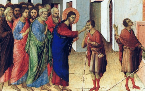"""Jesus Opens the Eyes of a Man Born Blind"" - by Duccio"