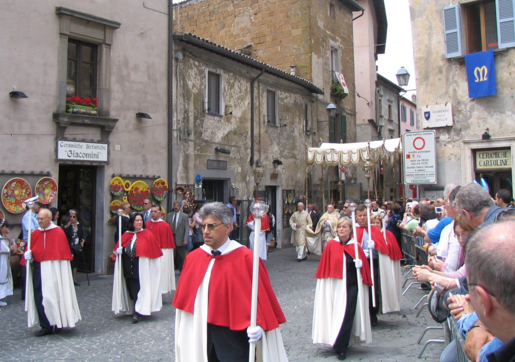The Eucharist and Corporal of the Miracle of Corpus Christi are carried in procession in Orvieto.
