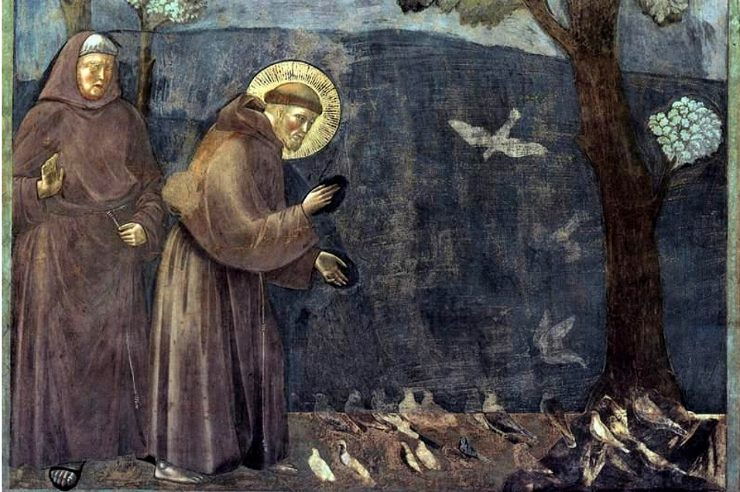 """Legend of St. Francis [15] Sermon to the Birds"" (detail) by Giotto"