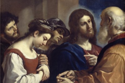 """Christ and the Woman Taken in Adultery"" by Guercino (Public Domain)"