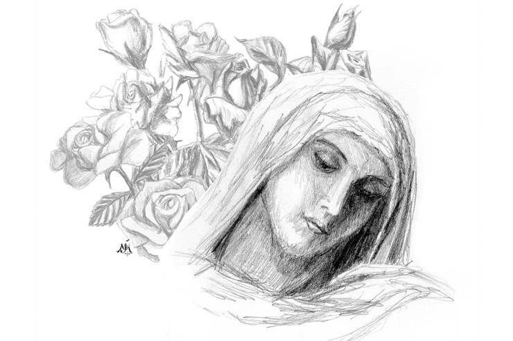 Blessed Virgin Mary with Roses (detail) Artwork © by Jef Murray