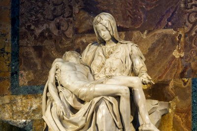 """Pietà"" (detail) by Michelangelo located in St. Peter's Basilica"