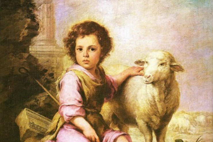 """Christ, the Good Shepherd"" (detail) by Murillo"