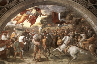 """Pope St. Leo the Great and Attila the Hun"" (detail) by Raphael"