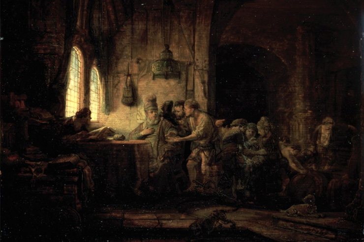 """Parable of the Laborers in the Vineyard"" (detail) by Rembrandt"