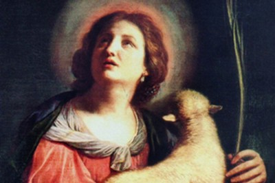 """St. Agnes of Rome"" (detail) by Berruguete"