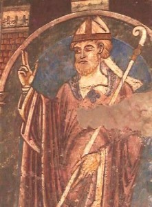 St. Cuthbert 12th century wall-painting  in Durham Cathedral