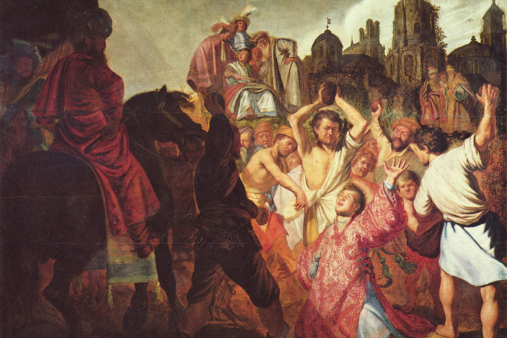 """""""The Stoning of St. Stephen"""" (detail) by Rembrandt"""