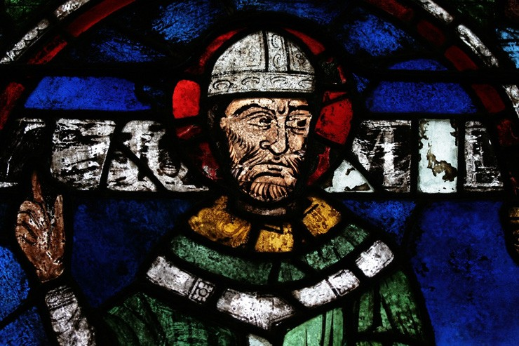 Stained glass window of Thomas Becket in Canterbury Cathedral