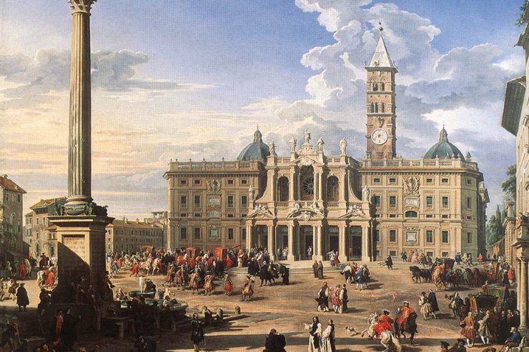 """The Piazza and Church of Santa Maria Maggiore"" by Giovanni Paolo Pannini"