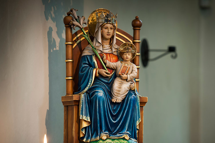 Statue of Our Lady of Walsingham at the National Shrine (Catholic) in the U.K.