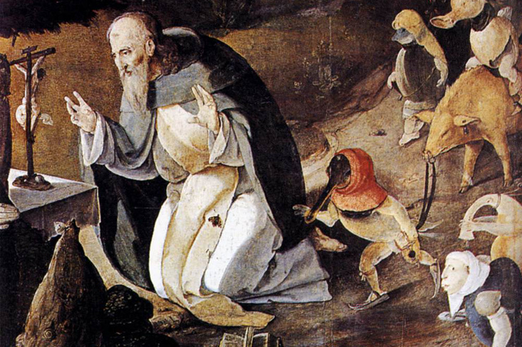 """The Temptation of St. Anthony"" - by Lucas van Leyden (detail; click for full image)"
